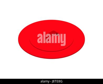 Red saucepan lid isolated isometric. Utensils on white background - Stock Photo