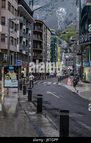 Avenue Carlemany shopping centre in Andorra la Vella, Andorra. - Stock Photo