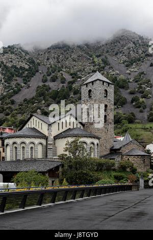 Church of Sant Esteve, in front of Pic de Carroi Mountain, Andorra La Vella, Europe - Stock Photo