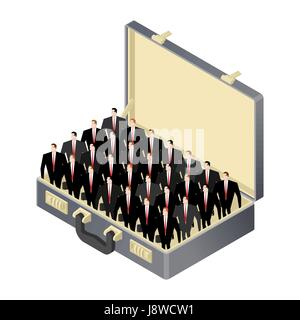 Business team inside Open case. suitcase and management team.  corporate professional Businessmen - Stock Photo