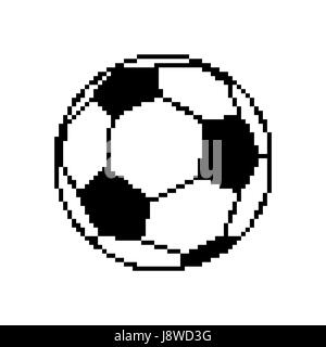 Soccer ball pixel art. Football pixelated isolated on white background - Stock Photo