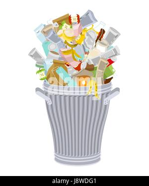 Trash can with Rubbish isolated. Wheelie bin with Garbage on white background. Dumpster iron. peel from banana and - Stock Photo