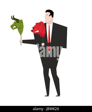 Trader and mask Green Bear and Red Bull. Player on stock exchange - Stock Photo
