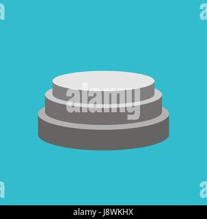 Round Pedestal isolated. Stand for awards. Scene on blue background - Stock Photo