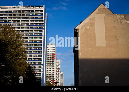 Old and new apartment blocks in Berlin, Germany. - Stock Photo