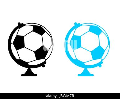 football ball Globe. World game. Sports accessory as earth sphere. Scope Soccer game - Stock Photo