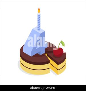 4 years birthday cake isometrics. Number four with a candle. Celebration of anniversary cake. Piece of festive chocolate - Stock Photo