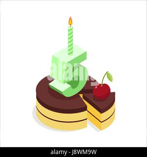 Birthday 5 years. Cake and Candle isometrics. Number five with candle. Celebration of anniversary pie. Piece of - Stock Photo