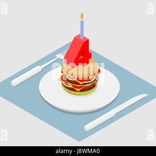 4 years birthday burger. Number four with candle. Burger anniversary celebration. Festive fast food. Happy holiday - Stock Photo