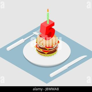 5 years birthday burger. Hamburger and candle isometrics. Number five with candle. fast food Anniversary Celebration. - Stock Photo