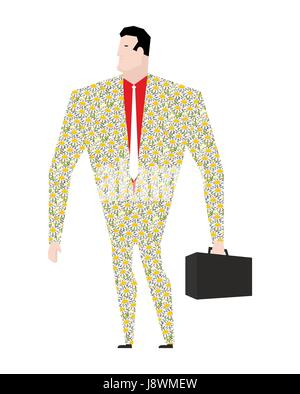 Dude businessman in suit of colors. Flower clothing. Trendy Office plankton. Boss with a suitcase on white background. - Stock Photo
