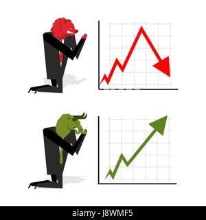 Bull and Bear pray to bet on stock exchange. Green up arrow. Red down arrow. Worship of money. Prayer quotes. Trader - Stock Photo