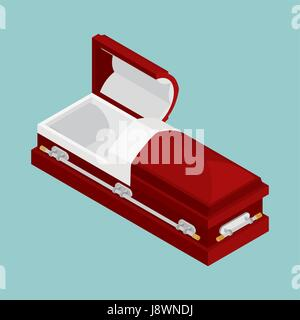 Coffin isometrics  Wooden casket for burial  Open and closed