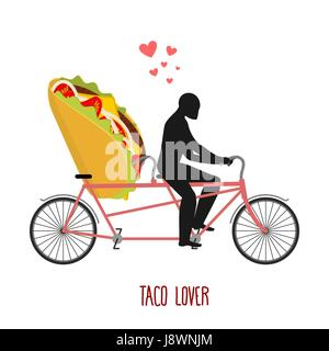 Lover taco. Mexican food on bicycle. Lovers of cycling. Man rolls fast food on tandem. Joint walk with meal. Romantic - Stock Photo