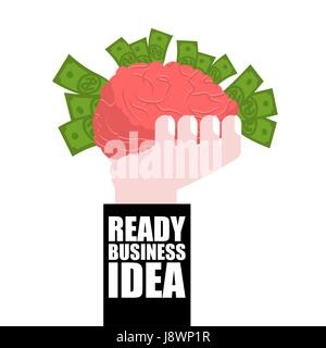 Ready business idea. Business Solutions. brain in his hand and money. concept is profitable. plan of attracting - Stock Photo