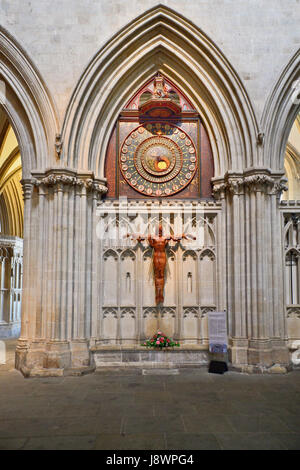 England, Somerset, Wells Cathedral, Astronomical Clock. - Stock Photo