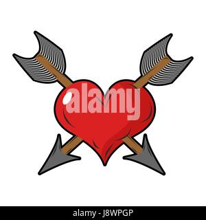 Heart and arrow. Two arrows pierced  sign of love. Love two people. Symbol of unrequited love. Logo for holiday - Stock Photo