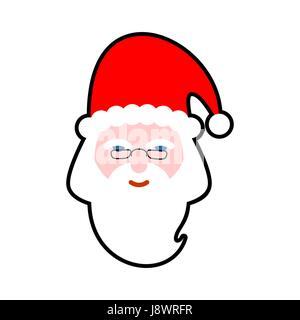 Santa face isolated Beard and mustache Red Hat Christmas icon