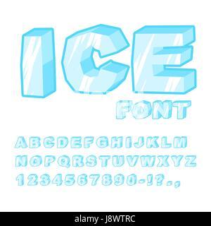 Ice font. Cold letters. Transparent blue alphabet. Frosty alphabet. frozen lettering - Stock Photo