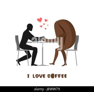 coffee lovers. Lover in cafe. Man and coffee beans sitting at table. Food in restaurant. Romantic date in public - Stock Photo