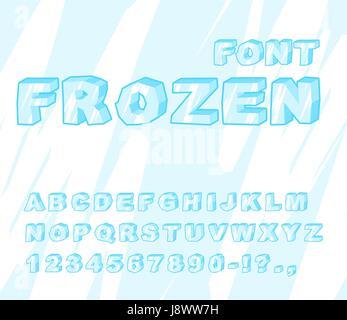 Frozen font. Ice alphabet. Transparent ABC. Cold blue letters - Stock Photo