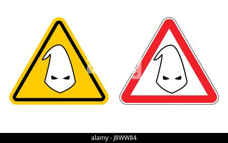Warning sign of racism. Hazard Yellow Sign race discrimination. White cap in red triangle. Set of road signs - Stock Photo
