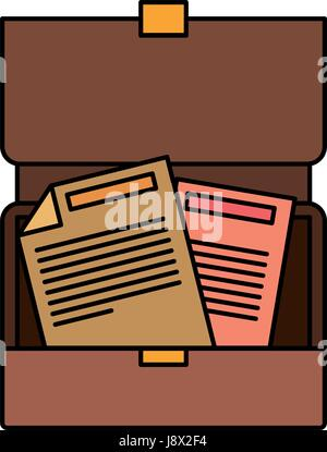 colorful silhouette of opened executive briefcase with documents - Stock Photo
