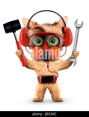Funny dog with respirator isolated on white - Stock Photo