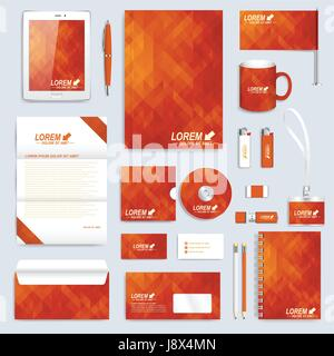 Red set layout of vector corporate identity template. Business, science, medicine and technology design stationery - Stock Photo