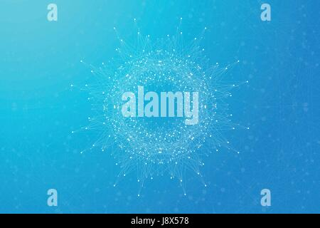 Geometric abstract round form with connected line and dots. Minimalism chaotic background. Linear sign, symbol. Graphic composition for medicine, science, technology, chemistry. Vector illustration