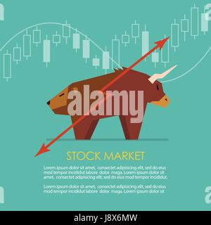 Bull and bear symbol of stock market with candle stick graph. vector illustration - Stock Photo