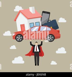 Businessman superhero carrying debt burden. Business concept - Stock Photo