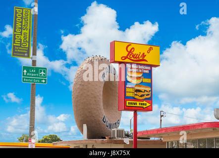 Inglewood, CA, USA - November 01, 2016: World Famous Randy's Donuts sign - Stock Photo