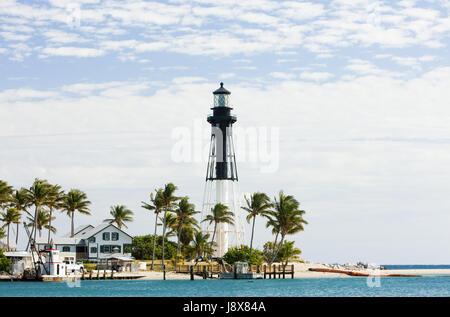 usa, lighthouse, travel, buildings, navigation, usa, america, palms, atlantic - Stock Photo