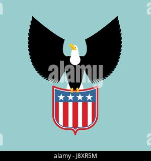 Eagle and coat of arms of  USA. American national symbol. Birds of prey and shield - Stock Photo