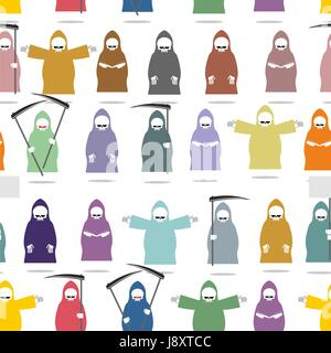 Funny death in bright robes seamless pattern. Texture of many  Grim Reaper . Endless Background for Halloween. Death - Stock Photo