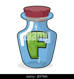 F in  bottle for experiments. Letter in vessel. Laboratory research vessel. Vector illustration letter f for chemical - Stock Photo