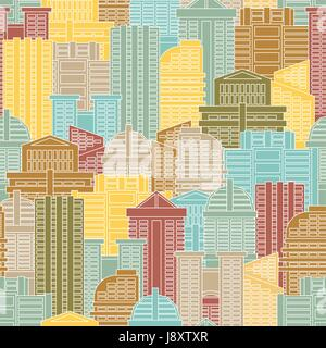 Urban seamless pattern. Colorful buildings in city, metropolis. Multi-colored skyscrapers and office building. - Stock Photo