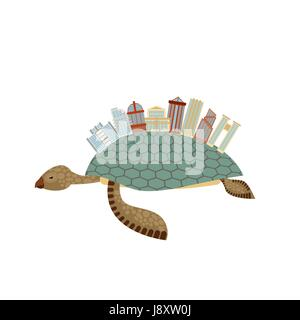City on turtle. Building on animal reptiles. Fantastic city. Vector illustration Towers, arches and skyscrapers - Stock Photo
