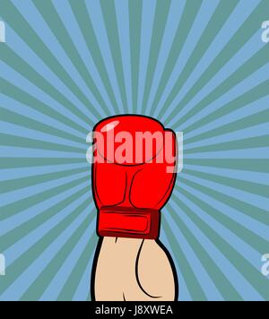 Hand in Boxing Glove. Winner, boxing champion raised his hand up-a symbol of victory. Vector illustration on theme - Stock Photo