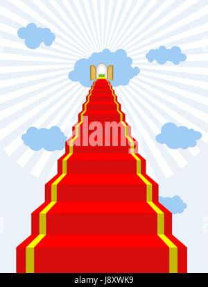 Stairway to paradise. Red carpet into sky. Gates of paradise. Doors in  clouds. Vector illustration of Gods dwelling. - Stock Photo