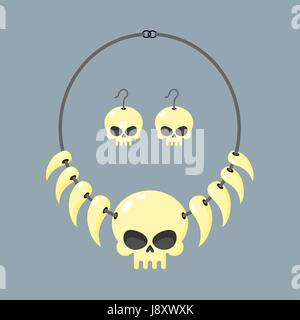 Necklace of skull and tusks. Beads, Aboriginal cannibals and barbarians. Vector illustration terrible piece of jewelry. - Stock Photo