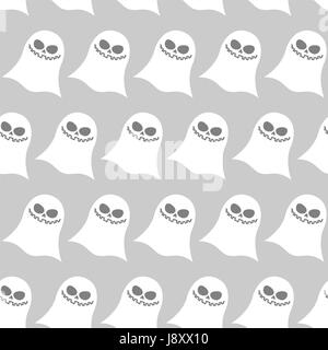 White funny ghost seamless pattern. Vector backgrounds for Halloween night. Texture of monsters for terrible and - Stock Photo