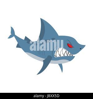 Angry shark. Marine predator with large teeth. Deep-water denizen. Vector illustration  shark on white background - Stock Photo