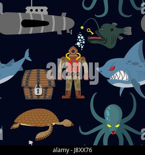 Deep sea seamless pattern. Diver and shark on black background. Sea turtle and submarine, octopus and deep-sea angler. - Stock Photo