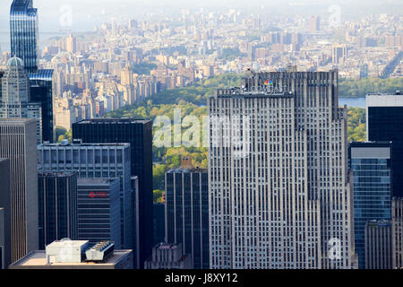 aerial view over the comcast building rockefeller center  towards central park and upper west side manhattan New - Stock Photo