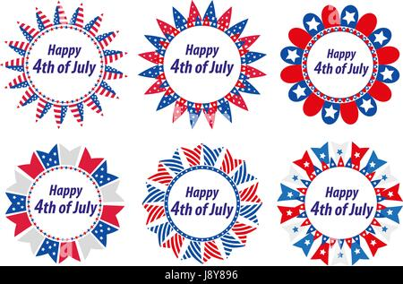 Independence Day America, USA. Set of round frames with flags. Collection of decorative elements with space for - Stock Photo