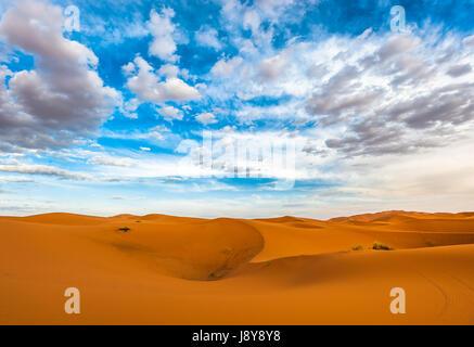 Sand dunes of Erg Chebbi, Morocco - Stock Photo