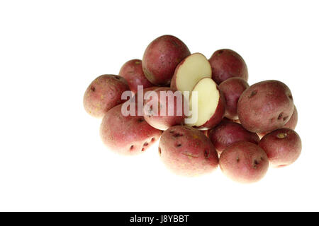 small, tiny, little, short, vegetable, raw, potatoes, potato, uncooked, red, - Stock Photo