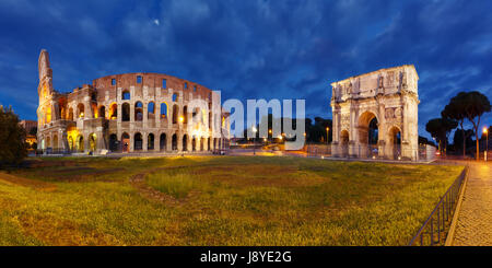 Colosseum or Coliseum at night, Rome, Italy. - Stock Photo